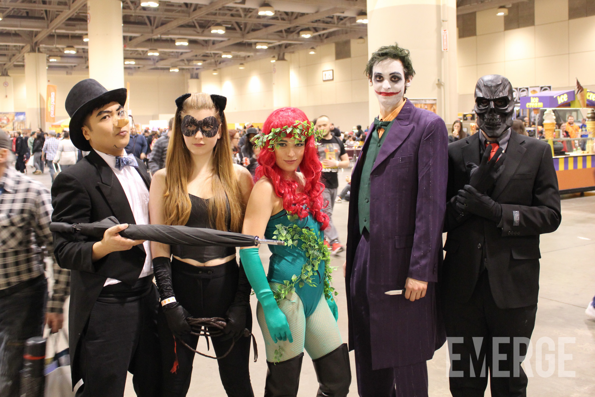 Penguin, Catwoman, Poison Ivy, Joker and Black Mask. No this is not the Justice League