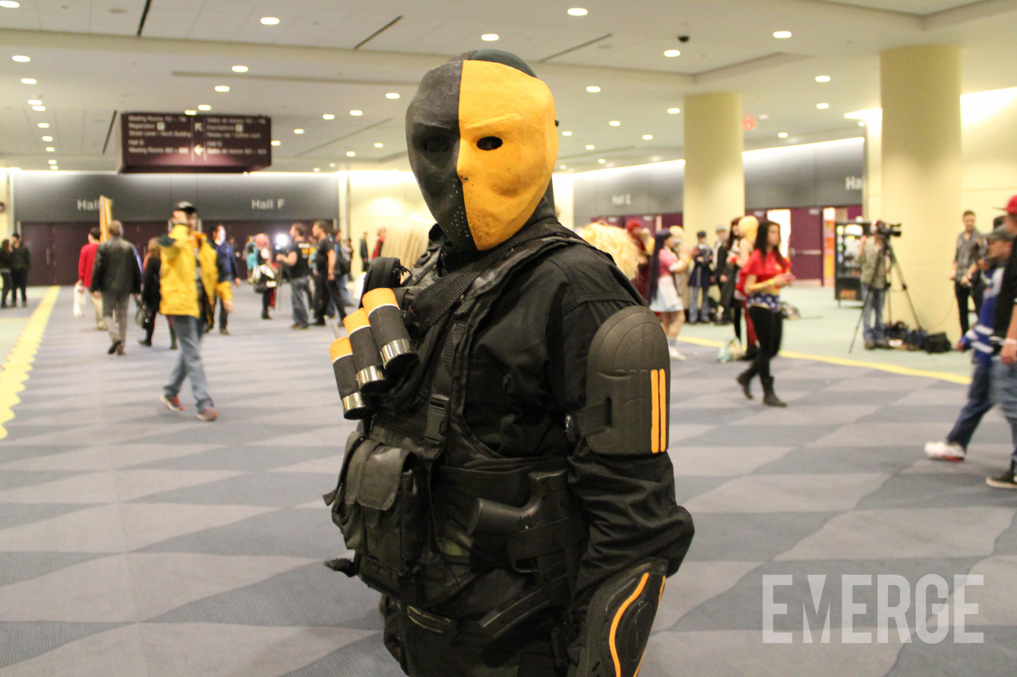 The legendary assassin Slade Wilson a.k.a. Death Stroke with his iconic yellow-and-black helmet. Just hope he does not show you his iconic sword